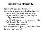 sandboxing memory 2