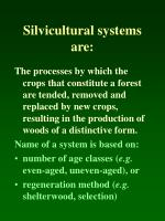 silvicultural systems are