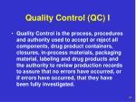 quality control qc i
