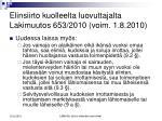 elinsiirto kuolleelta luovuttajalta lakimuutos 653 2010 voim 1 8 201015