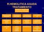 r hemolitica aguda tratamiento