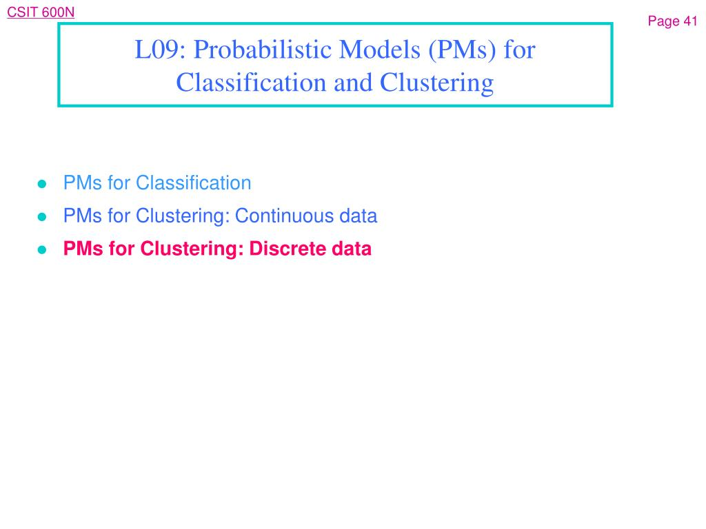 PMs for Classification