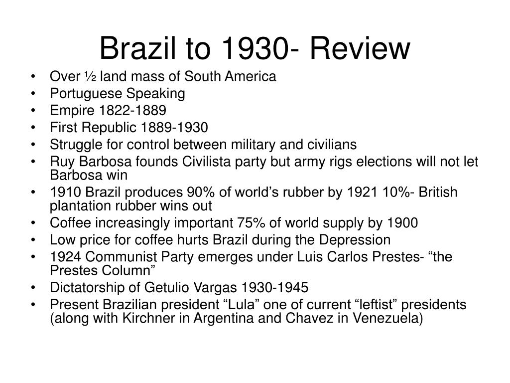 brazil to 1930 review l.