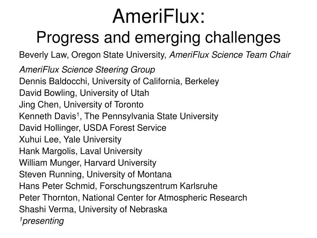 ameriflux progress and emerging challenges l.