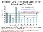length of data record and sponsors for active ameriflux sites