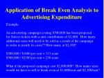 application of break even analysis to advertising expenditure
