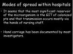 modes of spread within hospitals