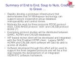 summary of end to end soup to nuts cradle to grave
