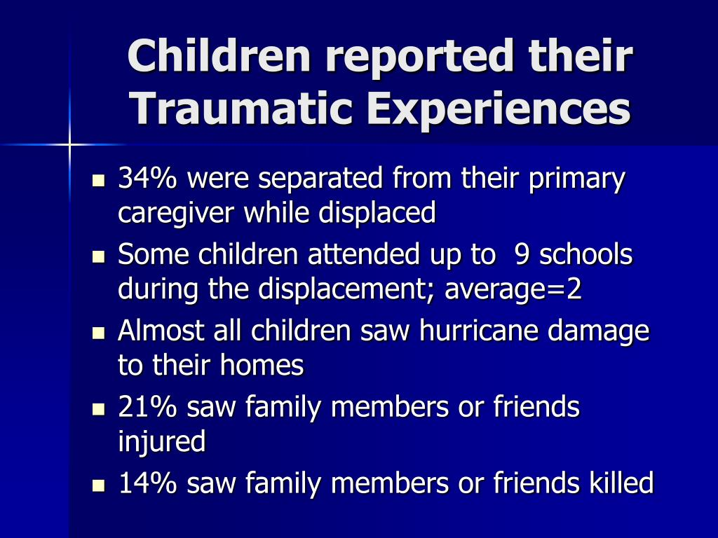 Children reported their  Traumatic Experiences