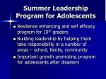 summer leadership program for adolescents
