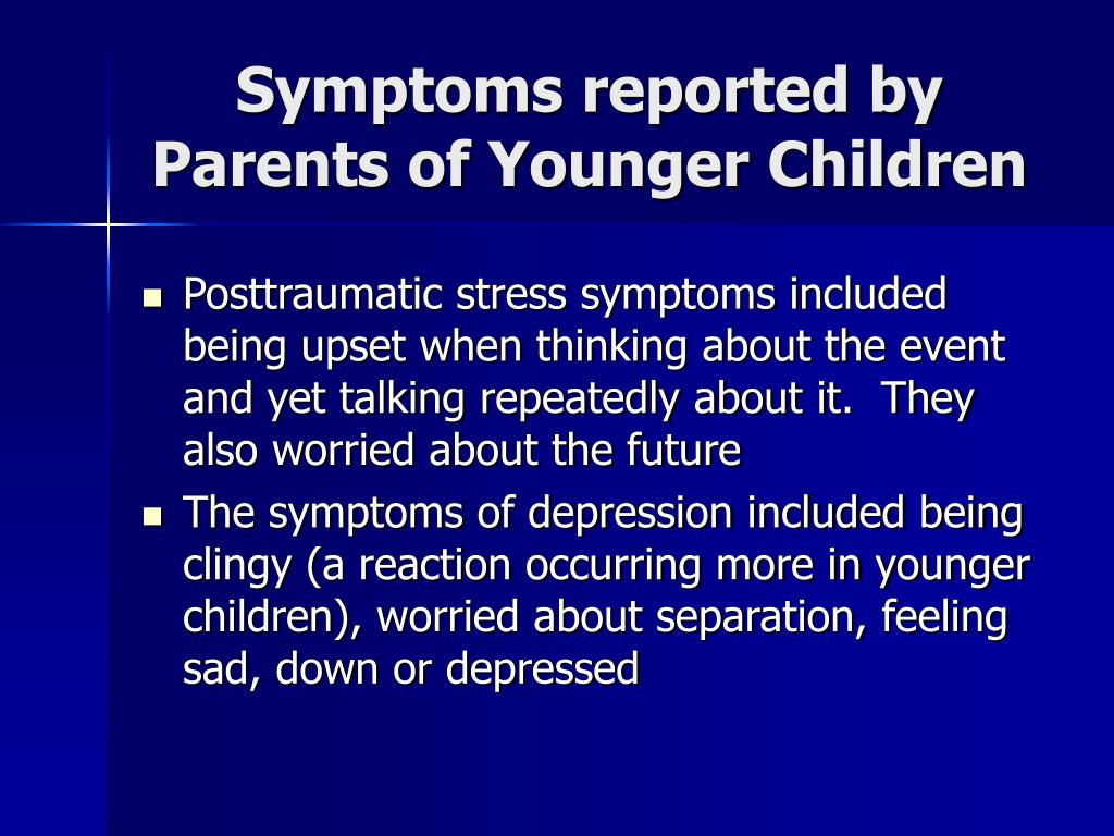 Symptoms reported by Parents of Younger Children