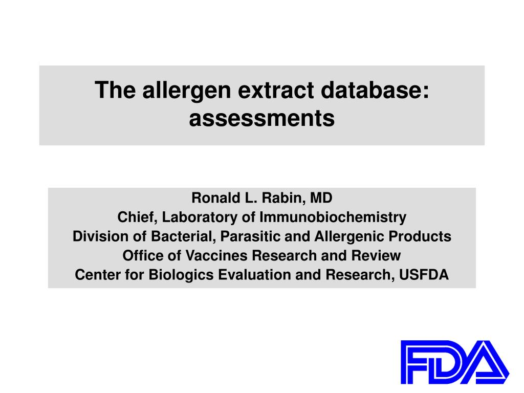 the allergen extract database assessments l.
