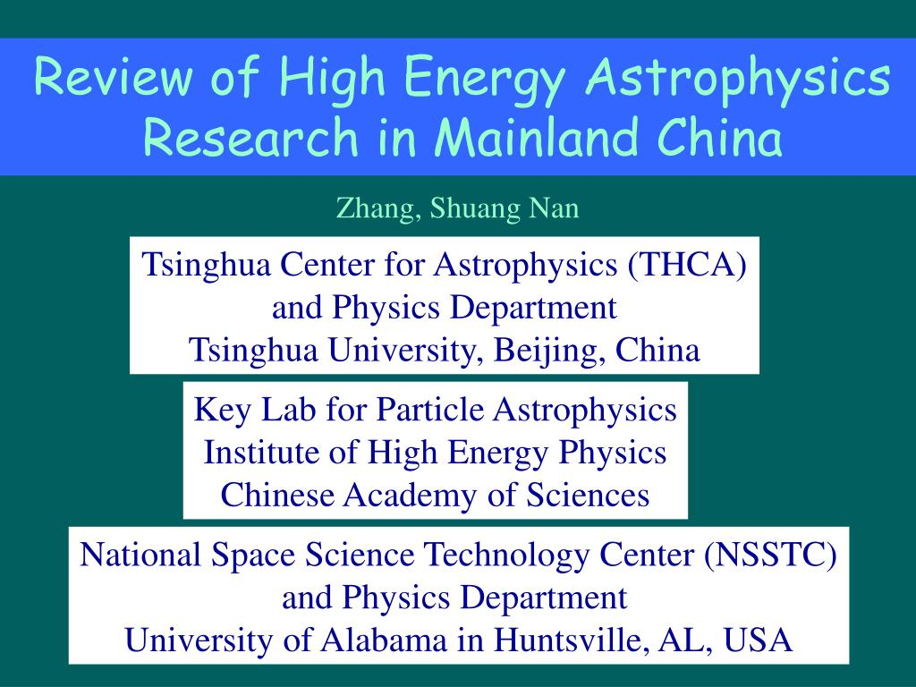 review of high energy astrophysics research in mainland china l.