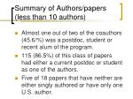 summary of authors papers less than 10 authors