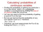 calculating probabilities of continuous variables