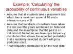 example calculating the probability of continuous variables