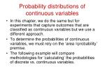 probability distributions of continuous variables