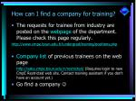 how can i find a company for training