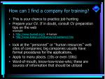 how can i find a company for training10