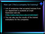 how can i find a company for training11