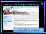 how can i find a company for training9