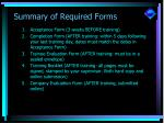 summary of required forms