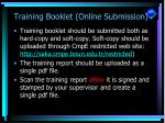 training booklet online submission