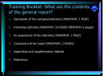 training booklet what are the contents of the general report