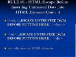 rule 1 html escape before inserting untrusted data into html element content