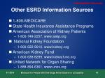 other esrd information sources