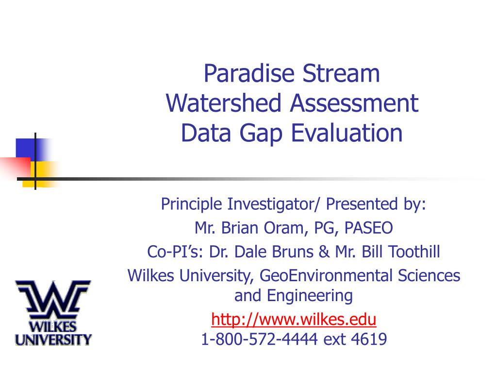 paradise stream watershed assessment data gap evaluation l.