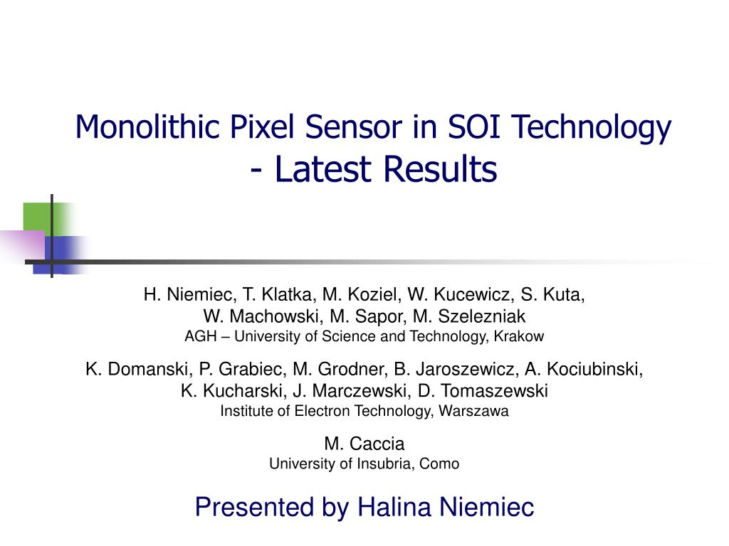 monolithic pixel sensor in soi technology latest results l.