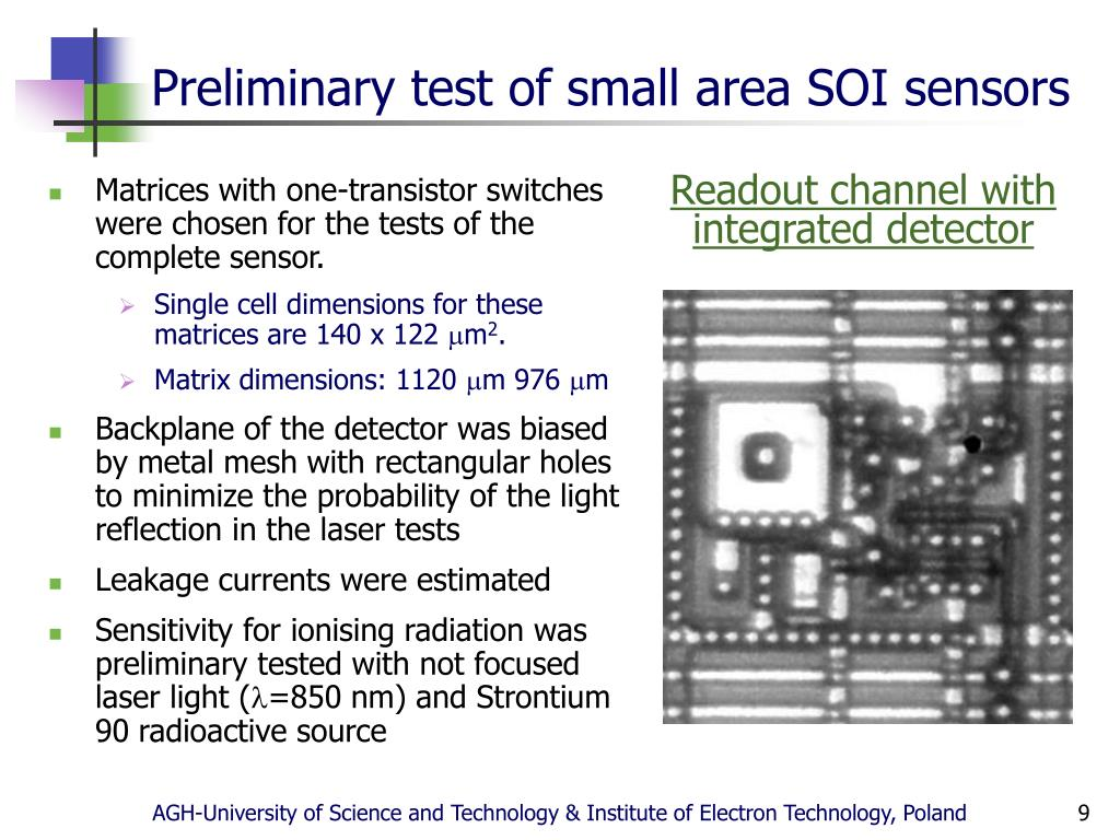 Preliminary test of small area SOI sensors