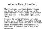 informal use of the euro