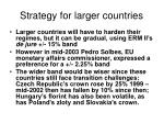 strategy for larger countries