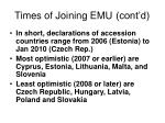 times of joining emu cont d10