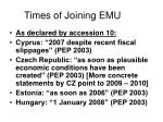 times of joining emu
