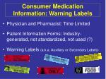 consumer medication information warning labels