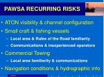 pawsa recurring risks