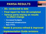 pawsa results