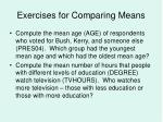 exercises for comparing means