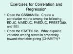 exercises for correlation and regression