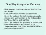 one way analysis of variance
