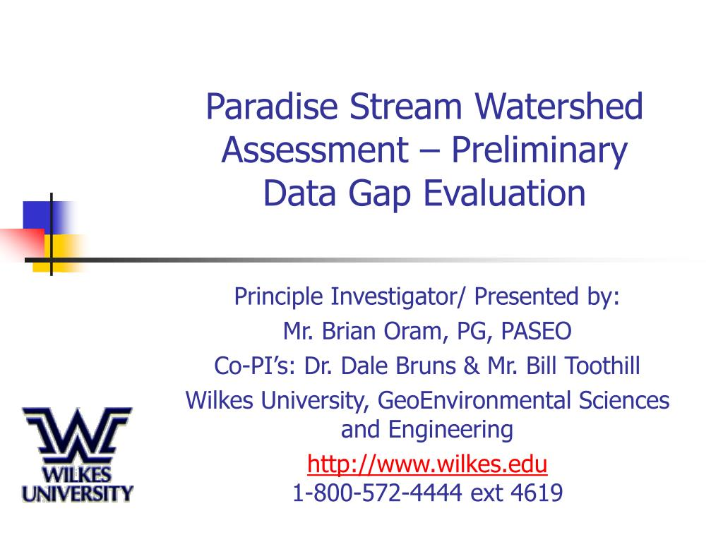 paradise stream watershed assessment preliminary data gap evaluation l.