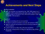 achievements and next steps
