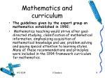 mathematics and curriculum