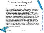 science teaching and curriculum