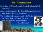 iii colonization