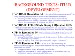background texts itu d development