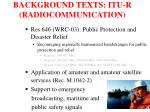background texts itu r radiocommunication